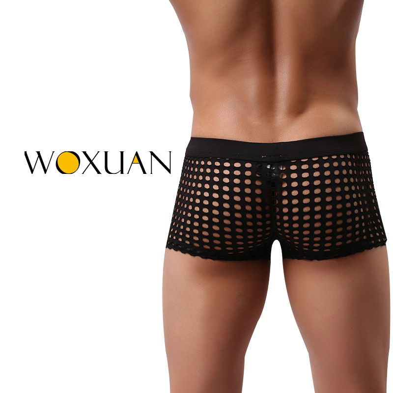9534ab1d799 Hot brand big hole cut out hard mens underwear transparent mesh powerful  gay lingerie boxers funny swimwear WOXUAN underwear-in Boxers from Underwear  ...