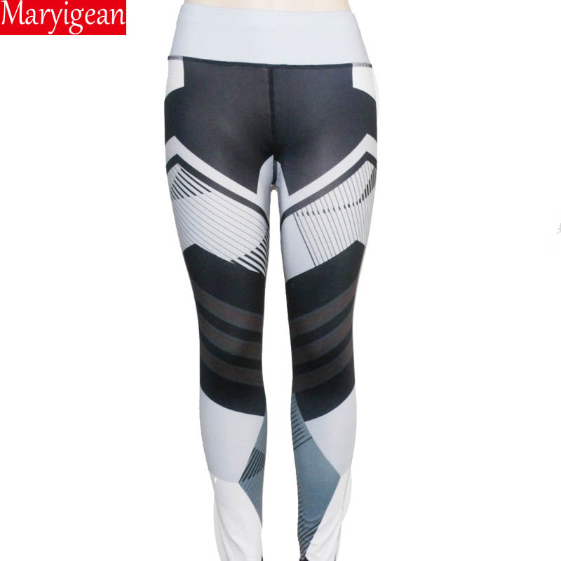 Maryigean 2019 New Activewear High Waist Fitness Leggings Women Pants Fashion Patchwork Workout Legging Stretch Slim Sportswear