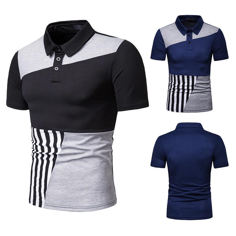 New Arrival Male   Polo   Shirt Stripe Spliced Men   Polo   Shirt Turn-Down Collar   Polo   Shirts Man Short Sleeve