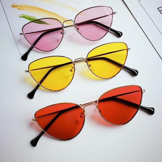 Retro Cat Eye Sunglasses Women Yellow Red Lens Sun glasses Fashion Light Weight Sunglass for women Vintage Metal Eyewear 5