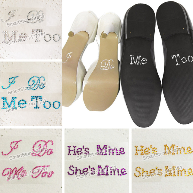 wedding decoration i do me too hes mine shes mine crystal diamante wedding shoe stickers something