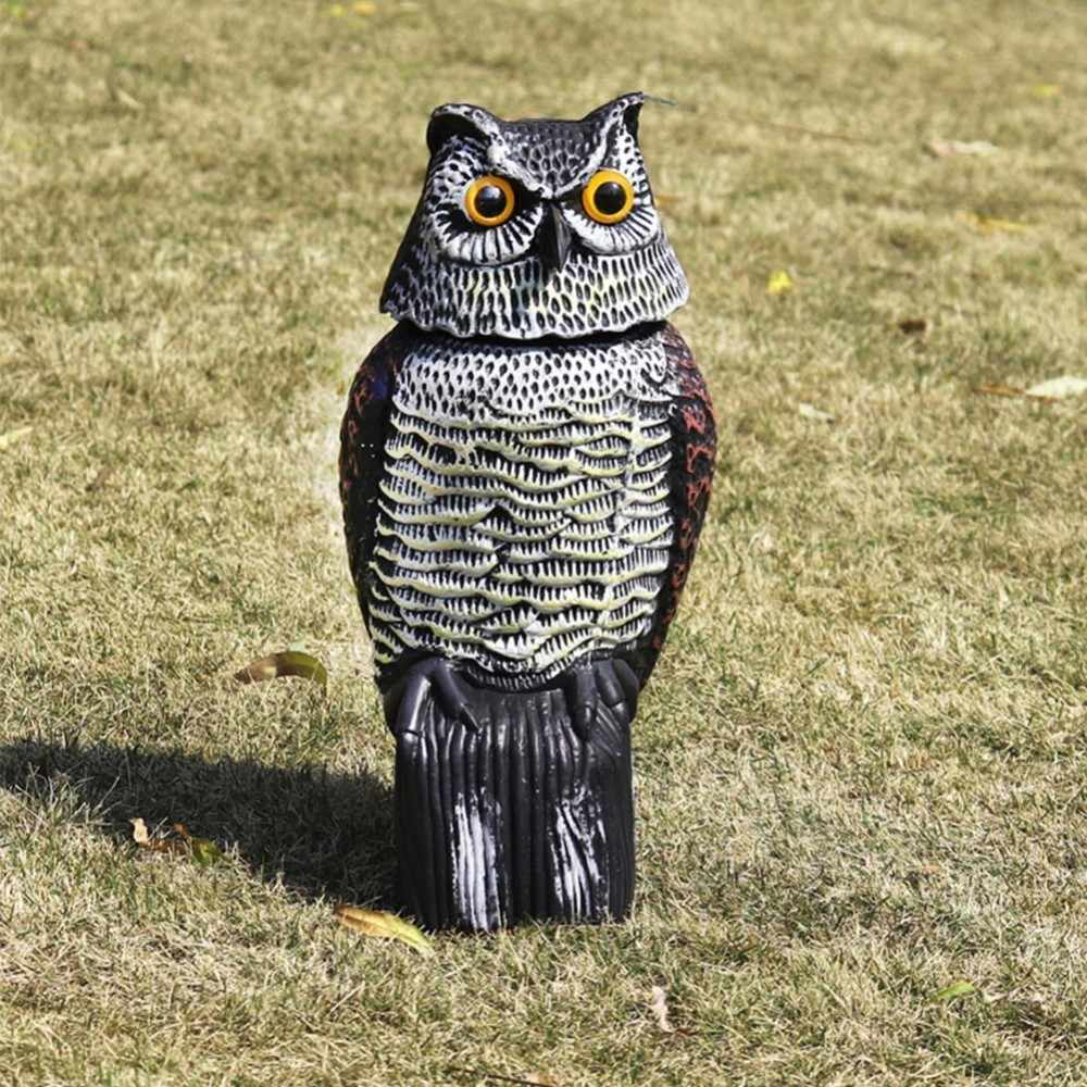 Large Realistic Owl Decoy Rotating Head Weed Pest Control