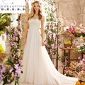 2017 New Designer Boho Wedding Dresses With Strapless Backless Beach Bridal Gowns Lace Top Tulle Skirt Sweep Train White Ivory