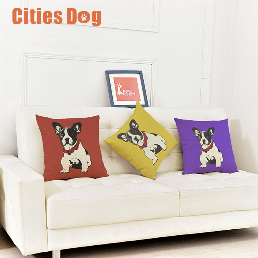 Animal dog Pillowcase Red Yellow Blue French Bulldog Cushion cover christmas decorations for home Pillow case Linen Cotton sofa