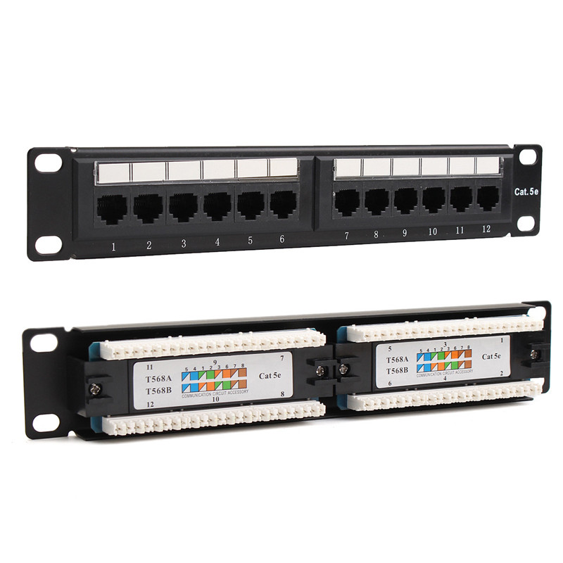 UTP Ethernet LAN Network Adapter Cat6/Cat5e 12 Port RJ45 Patch Panel Rack Cable Wall Mounted Bracket Connector Rack Tool