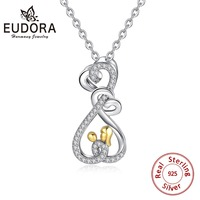 EUDORA 925 Sterling Silver Baby Mother Pendant Necklace for Women Mom Hug Child Heart Love Necklace Minimalist Jewelry CYD299