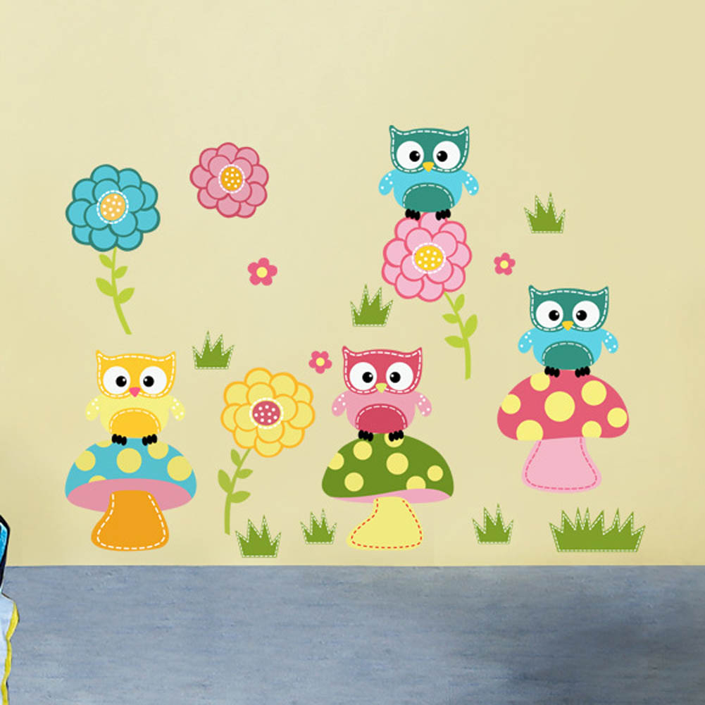 Cartoon Cute Animal Owl Flower Mushroom Stickers For Kids Child Room ...