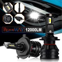 BraveWay 2019 New Car Lights Led H7 12000LM H11 LED Lamp for Cars Headlight H1 H4 H8 H9 9005 9006 HB3 HB4 Turbo H7 LED Bulbs 12V(China)