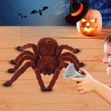 Realistic Scary Creepy Remote Control Infrared RC Plush Spider Halloween Toy