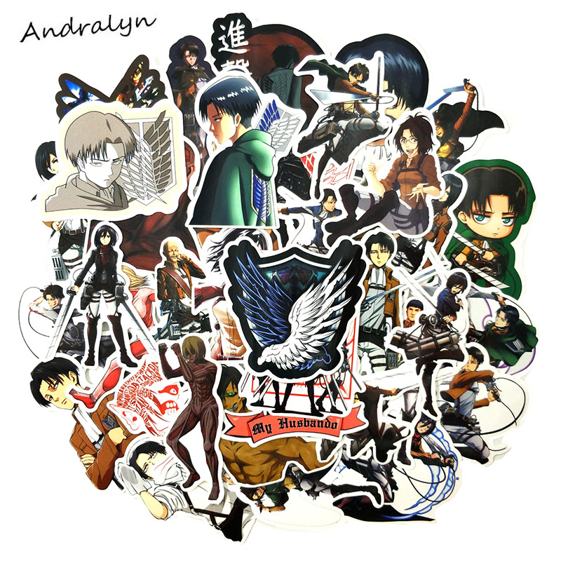42 Pcs/pack Attack On Titan Stickers Eren Jaeger For Luggage Motorcycle Wardrobe Skateboard Laptop Adesivos Phone Car Sticker
