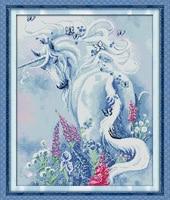 Unicorn Garden Counted Cross Stitch 11CT Printed 14CT Cross Stitch Set DIY Chinese Cotton Cross Stitch