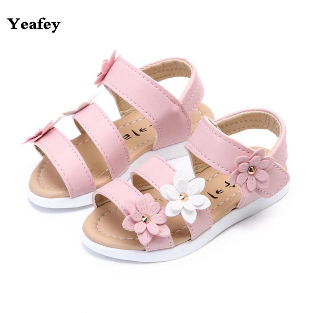 NEW Girls Sandals Princess Shoes Summer Girls Children Baby Three Flower Sandals