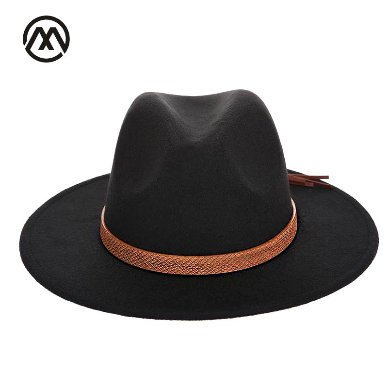 trend Solid Color Men Women Wool Felt Panama Hat Fedora Caps Leather Band Snake pattern black Fedoras