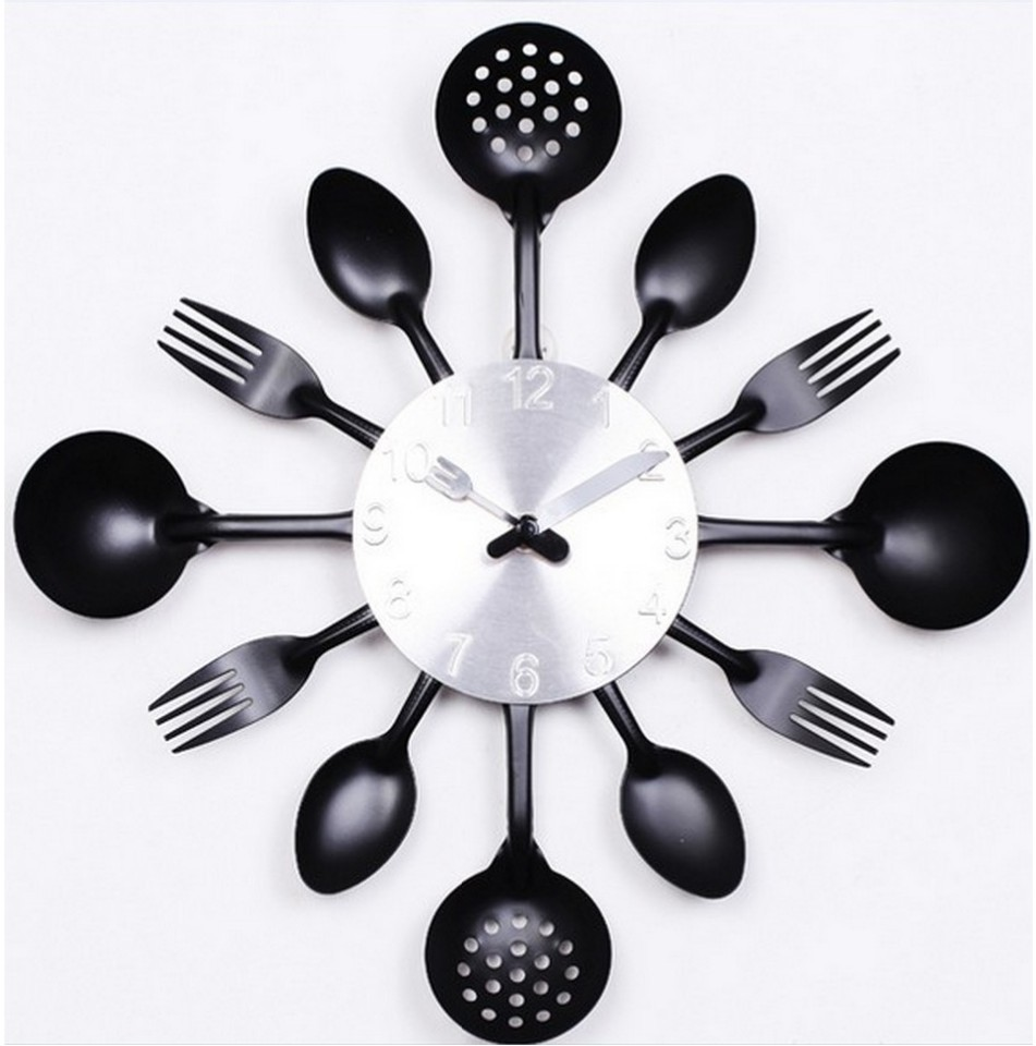 2016 promotion digital wall clock fork spoon kitchen the decor modern quartz metal mute sale rushed