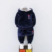 Baby Girls Winter Clothes Girls Clothing Set Cartoon Duck Dinosaur Elephant Warm Fleece Boys Sport Suit