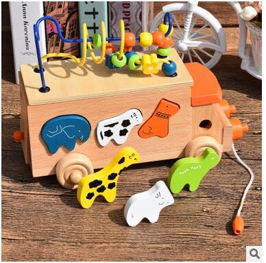 Bébé alphanumérique rond perle fil géométrie couleur forme Cognition voiture éducation préscolaire Puzzle tracteur Animal en bois jouet mathématique