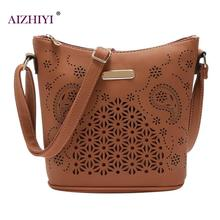Women Retro PU Leather Crossbody Bag Bucket Hollow Out Satchel Fashion Large  Capacity Handbag Portable Zipper cbde6fe2c6d32