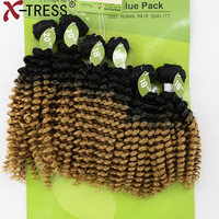 X TRESS Kinky Curly Blend Hair Weaves 16 20 Synthetic Hair And Human Mixed Ombre Brown Hair Extension 6 Bundles/Pack For Women