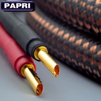PAPRI MPS E 330 SP 24K Gold Plated Banana Plug Connector 99.9997% OFC Audio Cable High Quality HiFi Amplifier Wire