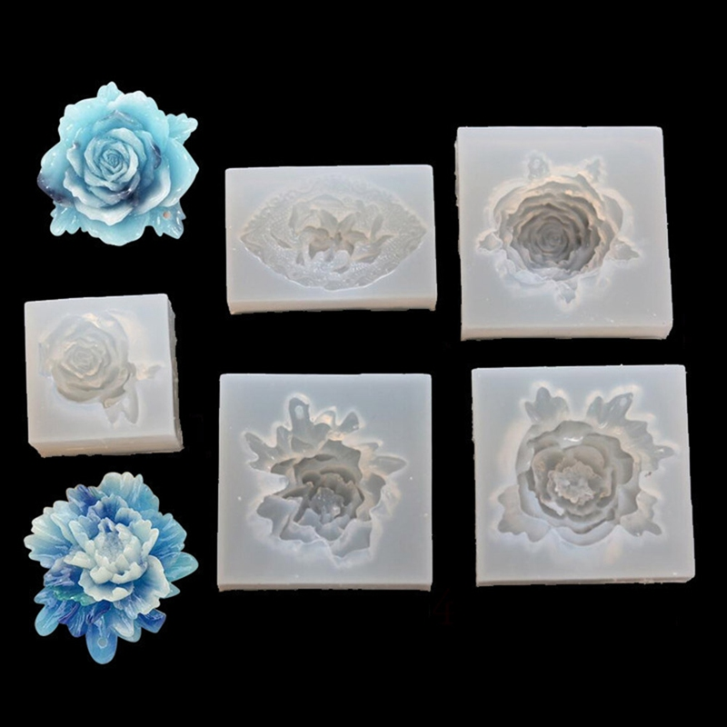 Silicone Mold Flower Rose Mirror Craft DIY Pendant Jewelry Decor Making Epoxy Resin Valentine's Day Rose Epoxy Jewelry Mould
