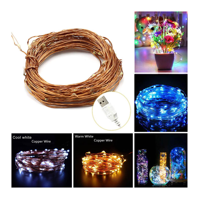 Free Shipping 10M USB Copper Wire String Light For Christmas Holiday Wedding Party Decoration LED Fairy Lights Lamps IP65 DC5V