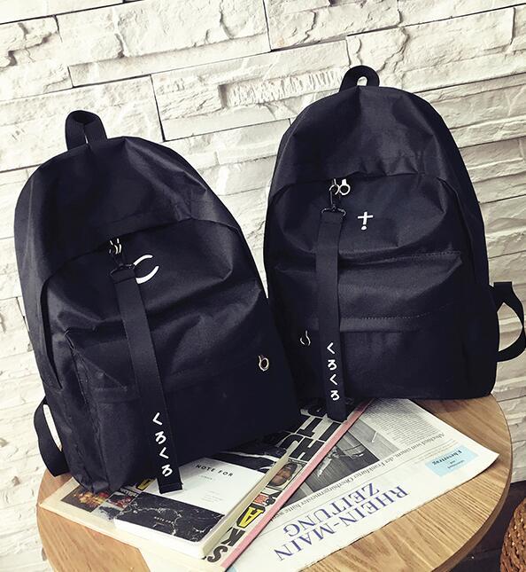 2017 new harajuku unisex Printing cross crescent women's backpack preppy style schoolbag female BLACK shoulder bag