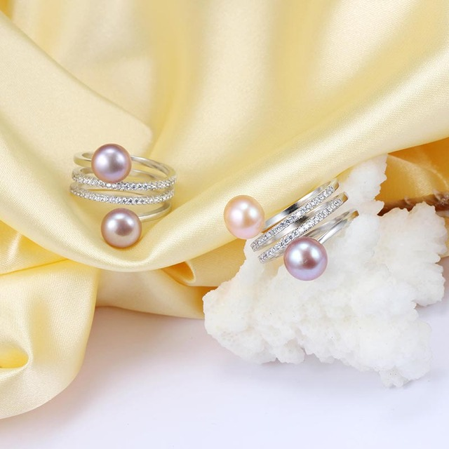 Dainashi trendy classic 925 sterling sliver natural freshwater colorful two pearls adjustable rings jewelry pearl rings for gift