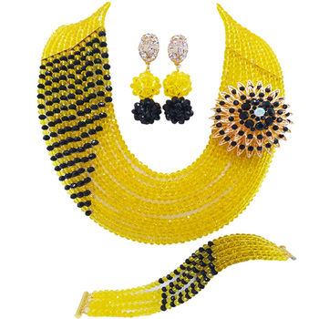 Yellow and Black African Beads Jewelry Set Nigerian Wedding Accessories Crystal Necklace Bridal Party Jewelry Sets 10JZ02