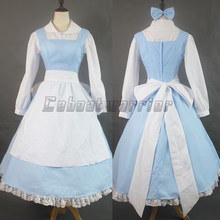 Movie Beauty and the Beast Princess Belle Blue Maid Apron dress Adult Women  Halloween Cosplay Costume 461182752e5f