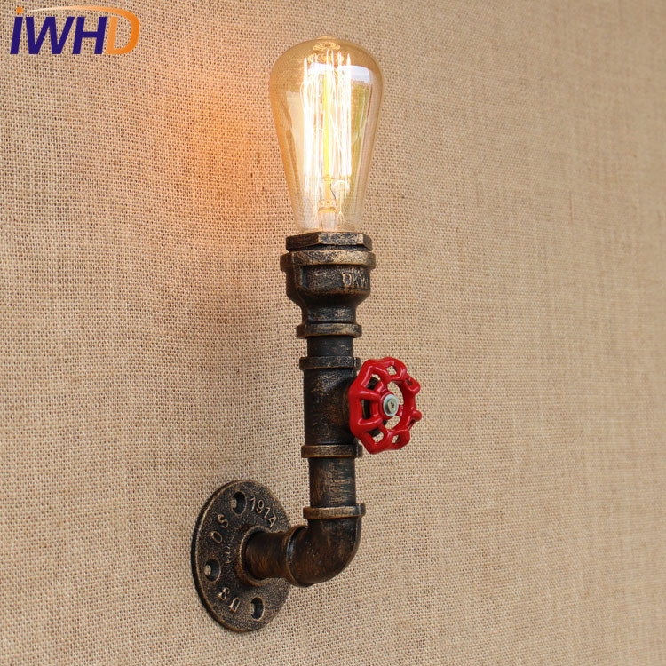 IWHD Loft Style Industrial Vintage Wall Lamp Antique Edison Wall Sconce Valve Water Pipe Wall Light Fixtures Home Lighting