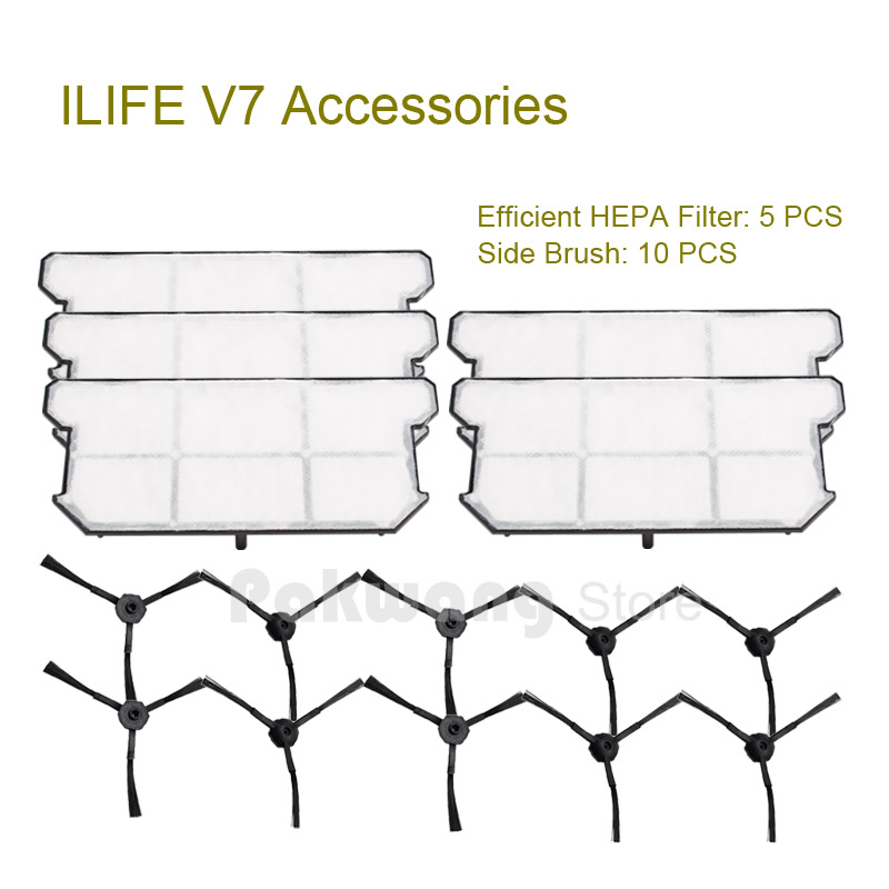 Original ILIFE V7 Robot vacuum cleaner parts,Efficient HEPA Filter 5 pcs and Side brush 10 pcs from the factory original ilife v7 primary filter 1 pc and efficient hepa filter 1 pc of robot vacuum cleaner parts from factory