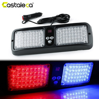 Castaleca 86LED Windshield Police Strobe Lights Sun visor Emergency Hazard Warning Flashing Signal lamp Car Truck Fog Light