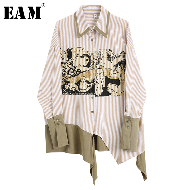 [EAM] 2020 New Spring Autumn Lapel Long Sleeve Print Pattern Irregular Button Personality Shirt Women Blouse Fashion Tide JX980