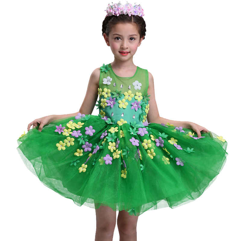 New summer baby girl Clothes print flower girl dress for wedding girls party dress with bow dress 9