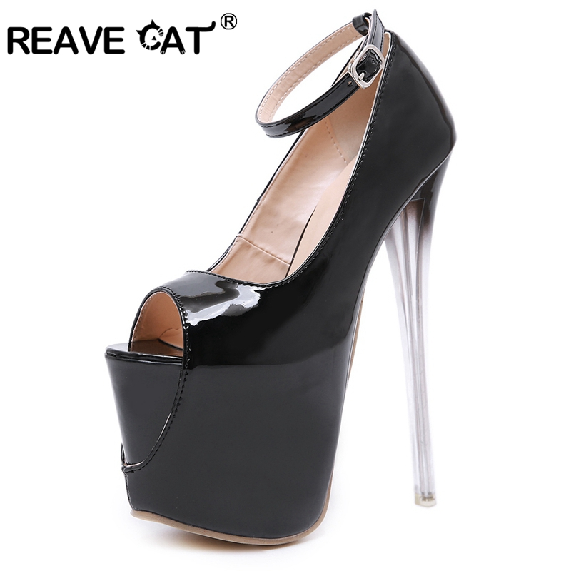 REAVE CAT Woman <font><b>18cm</b></font> Clear <font><b>High</b></font> <font><b>heels</b></font> Pumps <font><b>High</b></font> Platform Peep toe Ankle Buckle Patent leather Party Night club <font><b>Sexy</b></font> Black Cool image