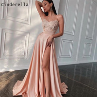 Cinderella Sweetheart Spaghetti Straps Floor Length A Line Side Slit Silk Lace Applique Satin Evening Dresses Prom Evening Gowns