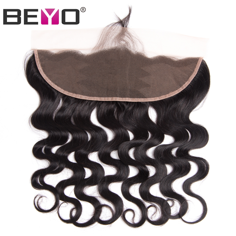 Beyo Hair Ear To Ear Lace Frontal Med Baby Hair Pre Plukket Peruvian Body Wave Closure 13x4 Non-Remy Menneskehår Gratis Levering