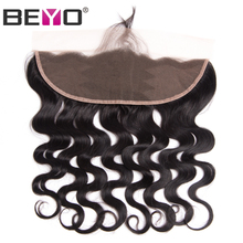 Beyo Hair Ear To Ear Lace Frontal With Baby Hair Pre Plucked Peruvian Body Wave Closure 13×4 Non-Remy Human Hair Free Shipping