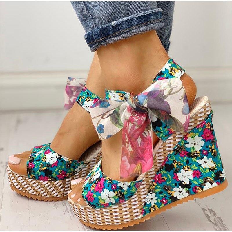 HTB1PVNUXRCw3KVjSZR0q6zcUpXat Women Summer Wedge Sandals Female Floral Bowknot Platform Bohemia High Heel Sandals Fashion Ankle Strap Open Toe Ladies Shoes