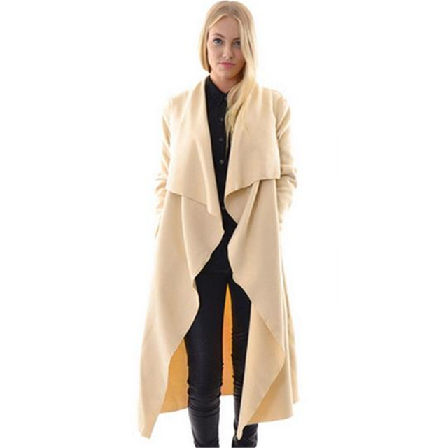 2016 New European Style Spring Autumn Women Long Slim Turn-down Collar Trench Coat Female Irregular Elegant Outwear S-L ZS588