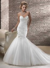 11-26 Beautiful Sweetheat Flower Organza With Beadeds Mermaid Wedding Dresses