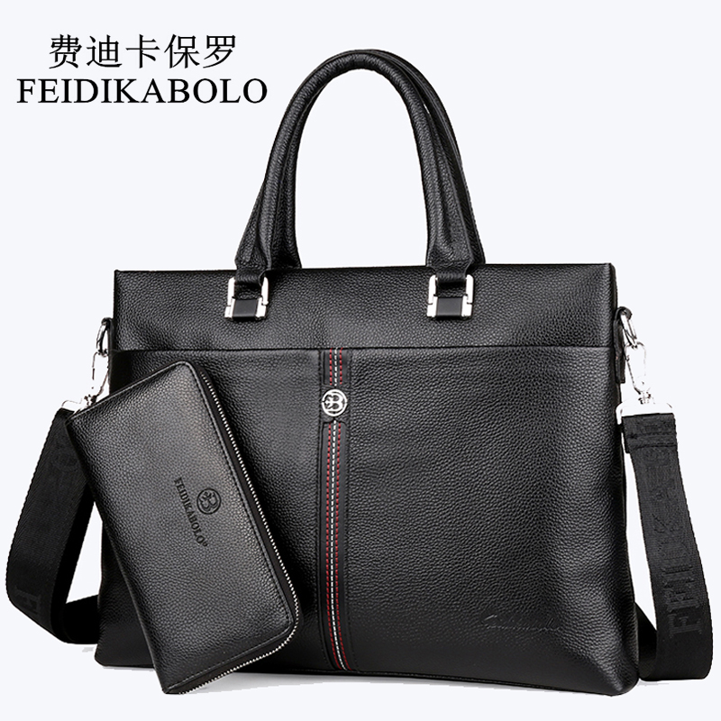 FEIDIKABOLO Famous Brand Man Bag 100% Genuine Leather Handbags Business Briefcase Men's Crossbody Bag Cowhide Black Male Handbag