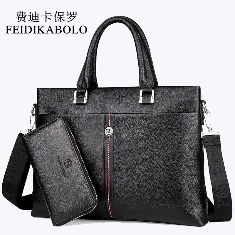 FEIDIKABOLO célèbre marque homme sac 100% sacs à main en cuir véritable mallette d'affaires hommes sac à bandoulière peau de vache noir homme sac à main