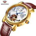 AILANG mannen Horloges Topmerk Luxe Automatische Mechanische Horloges Tourbillon Lederen Leisure Business Horloge relojes HOMBRE
