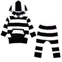 2PCS Brand New Black AND White Stripped Baby Boy Girl Hoodie Sweatshirt Tops+Pants Kids Clothes Outfit Set