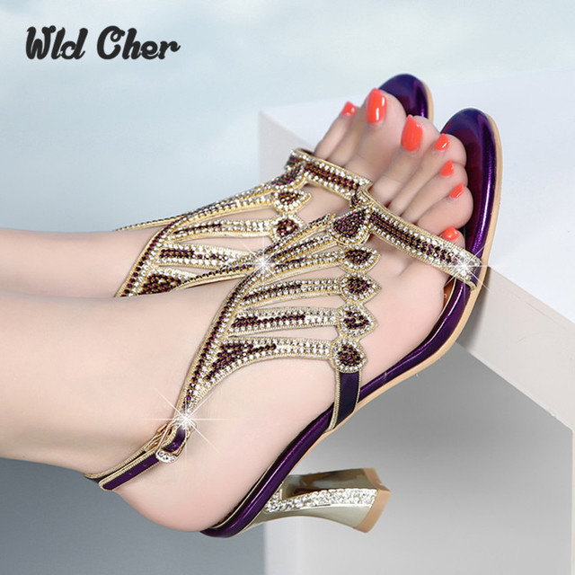 2c51502f8e7a58 Catching Women Shoes Genuine Leather Wedding Rhinestone High Heels Gold Black  Sandals For Women Ladies Peep Toe Crystal Sandals