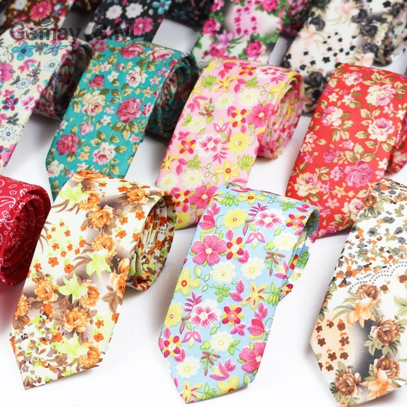 Mode Maigre Robes Cravates Pour Hommes Imprime Floral Cravates