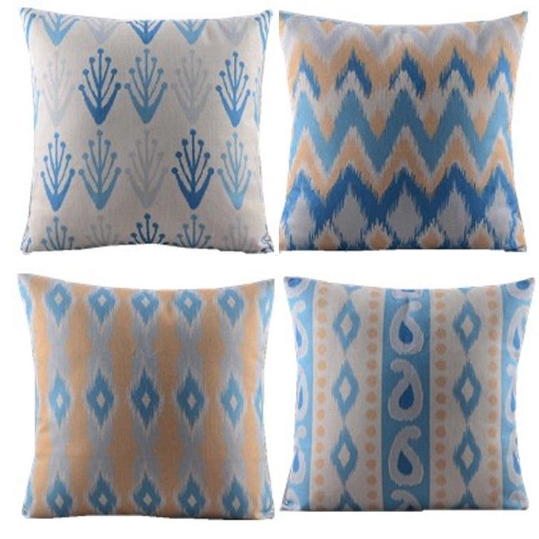 zigzag berlian chevron / gelombang / 4pcs / biru kuning / penutup - Tekstil rumah