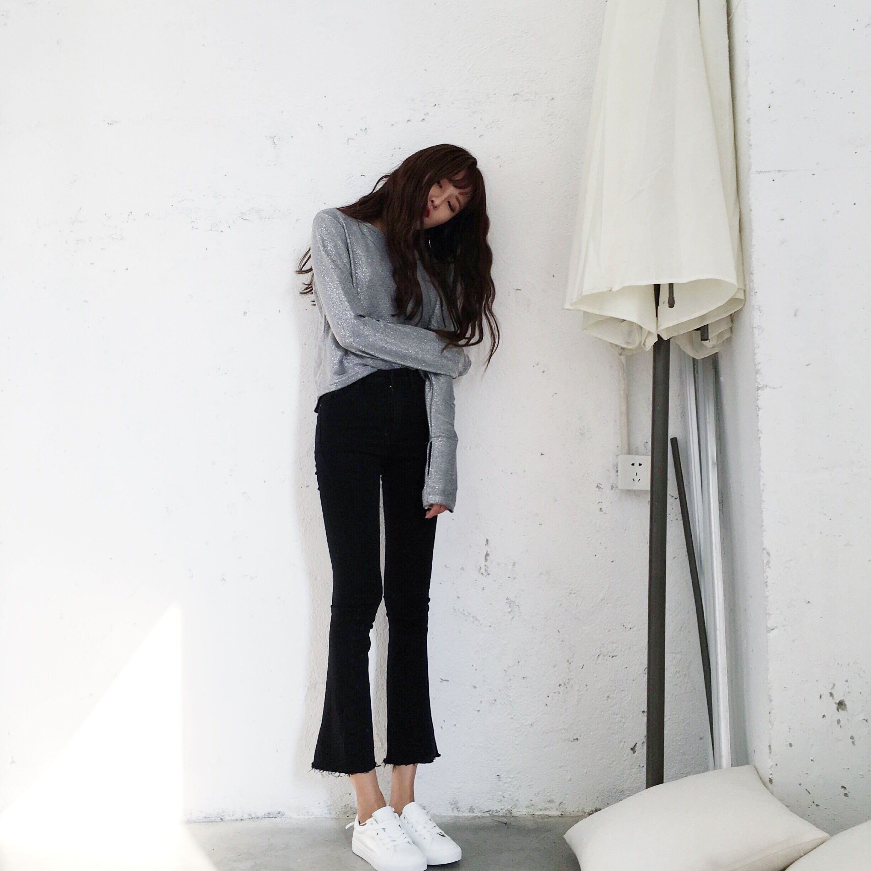 Black Flare Jeans Bell Bottom Pants Wide Leg Jeans Korean High Waisted Ulzzang Harajuku Bodysuit Women