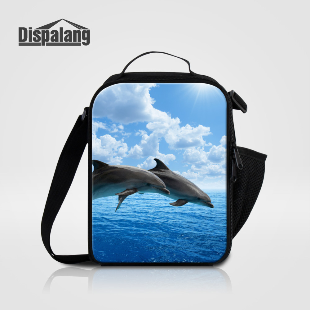 Dispalang Dolphin Print Lunch Bags Cooler Insulated Lunchbags for Women Kids Thermal Food Bag Lunch Box Picnic Bag Tote Handbag